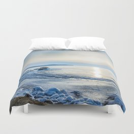 Frozen wharf and Halo Duvet Cover