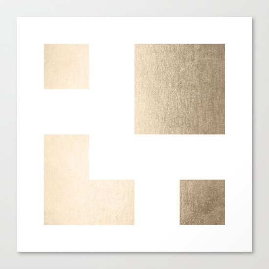 Simply Geometric in White Gold Sands on White Canvas Print