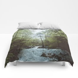 Peaceful Forest, Green Trees and Creek, Relaxing Water Sounds Comforters