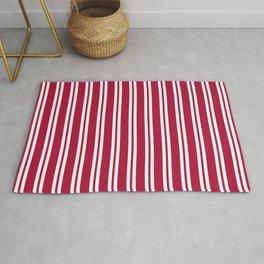 Crimson and White Wide Small Wide Stripes Rug