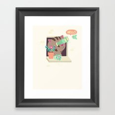 Hello Cat Framed Art Print