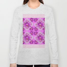 Pink Color Abstracted Modern Purple Moth Orchids Long Sleeve T-shirt