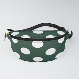 Phthalo green - green - White Polka Dots - Pois Pattern Fanny Pack