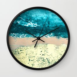 Darling: a bold, abstract, mixed-media piece in gold, teal, and pink Wall Clock