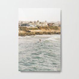Braving the Surf Mission Beach San Diego California Metal Print