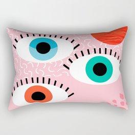 Noob - eyes memphis retro throwback 1980s 80s style neon art print pop art retro vintage minimal Rectangular Pillow