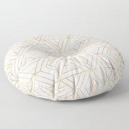 Nola Mod Mosaic - White gray gold Floor Pillow