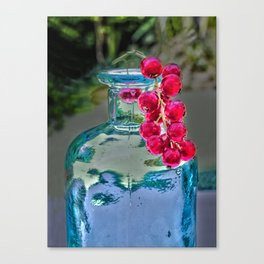 Summer colors- vintage bottle and red currant berries Canvas Print