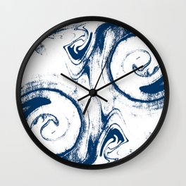 marble suminigashi spilled ink watercolor painting navy painterly abstract art Wall Clock