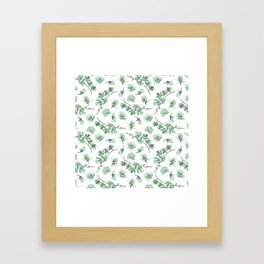 Pastel green watercolor modern orchid floral pattern Framed Art Print