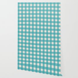 Buffalo Checked Plaid in Turquoise and Cream Wallpaper