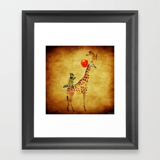 By playing on the giraffe Framed Art Print