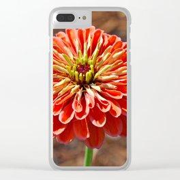 Single orange dahlia Clear iPhone Case