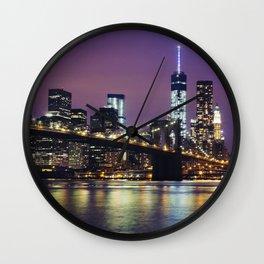Manhattan Skyline over the Brooklyn Bridge at Night Wall Clock