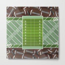 Green Football Field and Footballs Metal Print