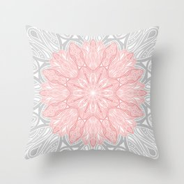 MANDALA IN GREY AND PINK Throw Pillow
