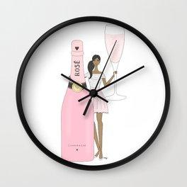 Rose Champagne Fashion Girl Dark Skin Tone Wall Clock