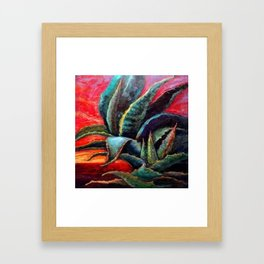 "WESTERN BLUE AGAVE ABSTRACT ""SHIP OF THE DESERT"" Framed Art Print"