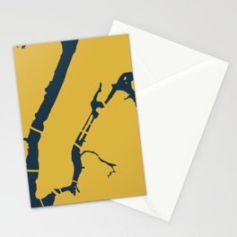 Manhattan New York NYC Minimalist Abstract in Light Mustard and Navy Blue Stationery Cards