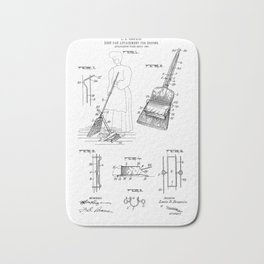 Dust Pan Attachment for Brooms Vintage Patent Hand Drawing Bath Mat