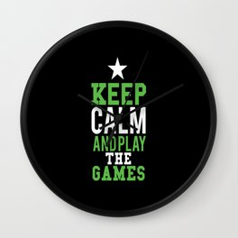 Keep calm and play game Wall Clock