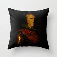 picasso Throw Pillows featuring King Picasso by Joe Ganech