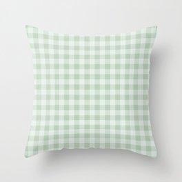 Gingham Pattern - Light Green Throw Pillow