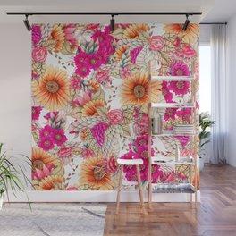 Pink orange spring vintage floral watercolor illustration pattern Wall Mural
