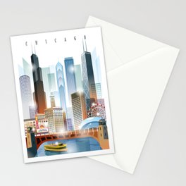 Chicago city skyline painting Stationery Cards