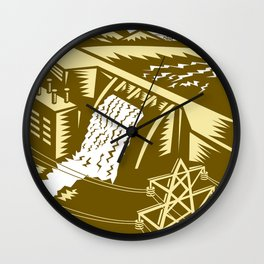 Hydroelectric Hydro Energy Dam Woodcut Wall Clock