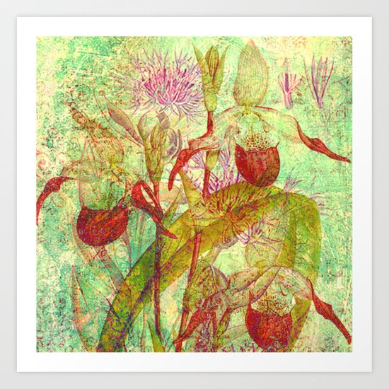 abstract floral with red Art Print
