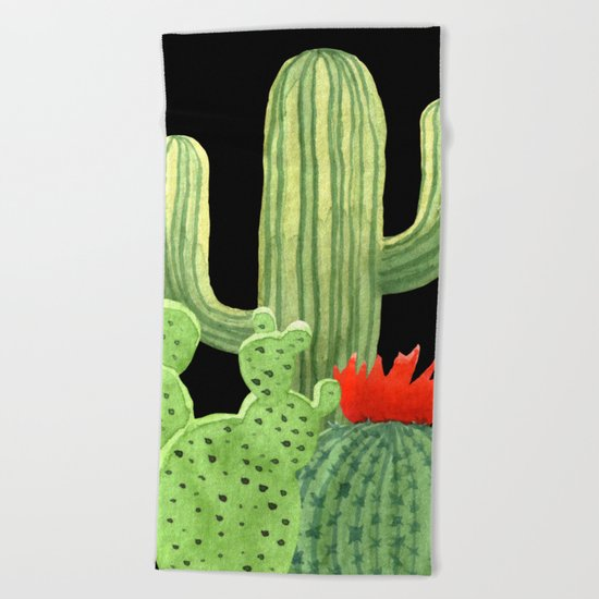 Perfect Cactus Bunch on Black Beach Towel