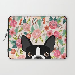 Boston Terrier floral dog head cute pet portrait gifts for boston terriers must haves Laptop Sleeve