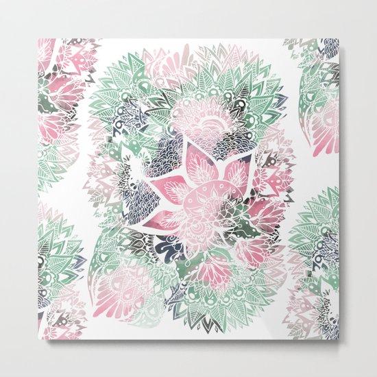 Hand drawn floral mandala pink green garden spring pattern Metal Print