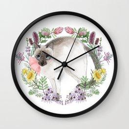 Pixie the Chocolate Siamese Cat Wall Clock