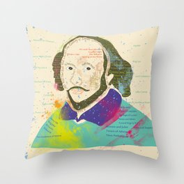 Portrait of William Shakespeare-Hand drawn Throw Pillow
