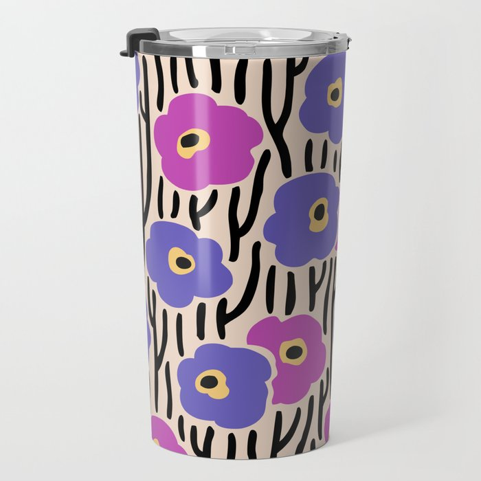 Mid Century Modern Wild Flowers Pattern Pink and Purple Travel Mug