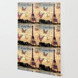 Vintage Paris-Carte Postale Wallpaper