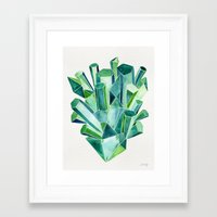 emerald Framed Art Prints featuring Emerald Watercolor by Cat Coquillette