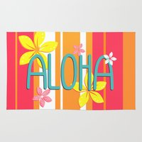 aloha Area & Throw Rugs featuring Aloha by Claire Lordon
