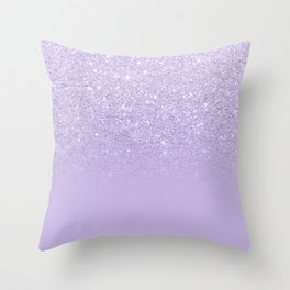 Stylish purple lavender glitter ombre color block Throw Pillow