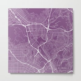 Glendale Map, USA - Purple Metal Print