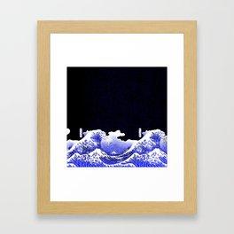 BLUE & WHITE HOKUSAI WAWE REBOOT Framed Art Print