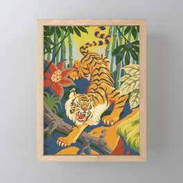 Tiger Slinking Through Jungle illustration - retro style Framed Mini Art Print