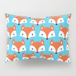 Cute Woodland Fox Pattern Design / Blue Pillow Sham
