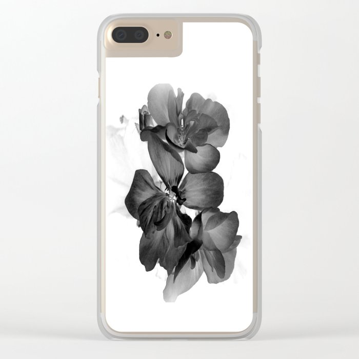 Black Geranium in White Clear iPhone Case