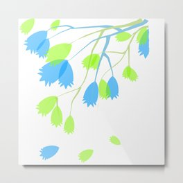 Leaves In Blue and Green Metal Print
