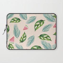 Watermelon Tropical Leaf Print Laptop Sleeve