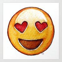 emoji Art Prints featuring Emoji by Willow's Art