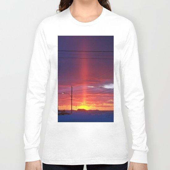 Winter Light Pillar Long Sleeve T-shirt